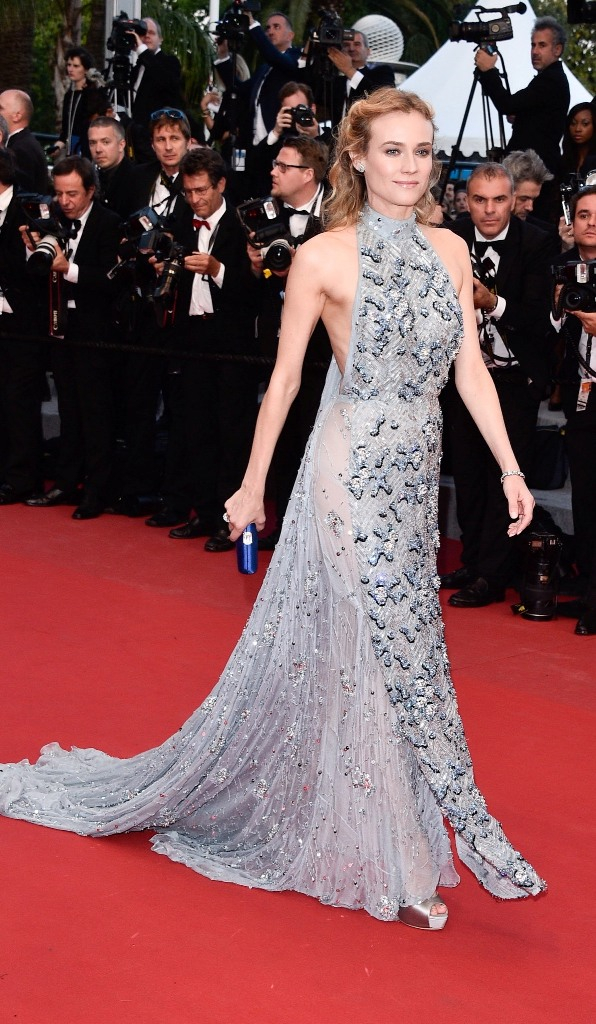 Diane Kruger, in Prada, with Harry Winston jewels and Jimmy Choo shoes