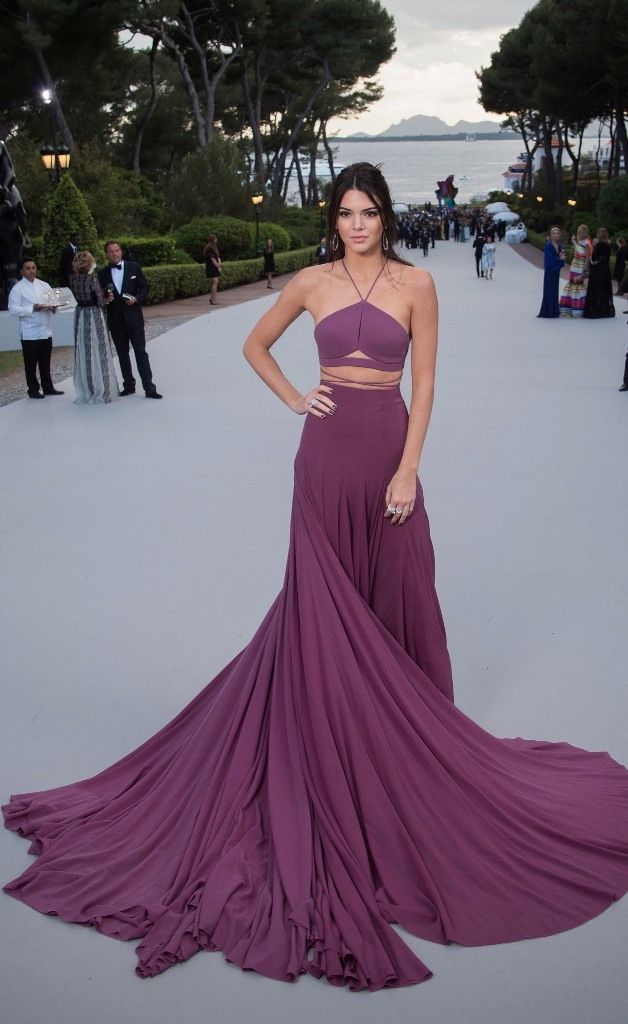 Kendall Jenner, in Calvin Klein Collection, with Chopard jewels